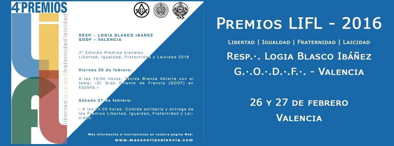 4ª Edición de los premios libertad, igualdad, fraternidad, laicidad, concedidos por la logia masónica valenciana Blasco Ibáñez.