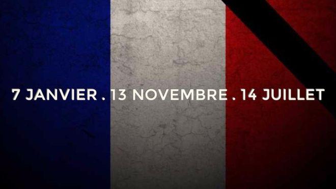 Bandera de Francia, atentados 14 de julio